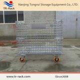 Recipiente de dobramento de venda quente da gaiola do engranzamento de fio do armazenamento do metal do armazém