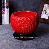 Maceta de cerámica de drenaje coloreada mano del crisol de la planta del plantador de 3 colores