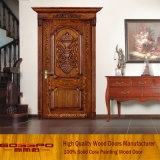 Porte de sculpture en bois massif en bois simple (GSP2-007)