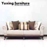 Sofá Home tradicional do estilo clássico do sofá da tela com frame de madeira para a sala de visitas