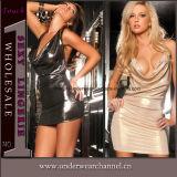 섹시한 투명한 최신 여자 섹시한 PU 가죽 란제리 복장 (TLQZ11429)