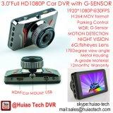 """Coche lleno DVR de la pantalla HD1080p de HD de la venta caliente 3.0 """" en el rectángulo negro ocultado rociada del coche construido en 6g la lente, ángulo de visión 170degree, WDR, movimiento Dectection, videocámara DVR-3014 del coche"""