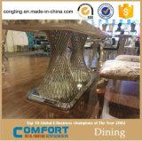 ステンレス鋼のフィートが付いている大理石の上の金属フレームのダイニングテーブル