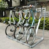 Barraca de bicicleta semi-vertical semi-curvada quente para estacionamento 4 bicicletas