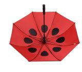 Черный резиновый прямой зонтик