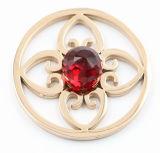 IP nam het Muntstuk van het Roestvrij staal van de Bloem van het Gouden Plateren met Kubieke Roze Steen toe
