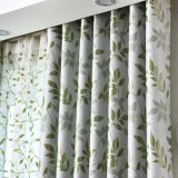 きれいなデザイン緑の葉のジャカード停電の窓カーテン(06F0030)