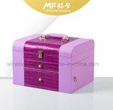 Caja de embalaje del color de rosa del MDF de la joyería de cuero de mano encantadora moderna de la boda