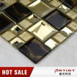 De gouden en Zwarte Afgeschuinde Tegel van het Mozaïek van het Glas van het Kristal van de Spiegel
