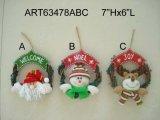 Décoration à la maison Santa et Snowmand Doorknob-3asst de Noël