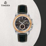 Relógio de quartzo de couro de aço inoxidável de estilo novo para Mens72227