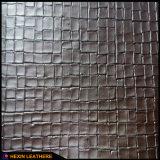 Кожа PVC зерна решетки синтетическая для украшения Hw-762 ботинок ботинок