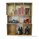 Caixa empilhável de armazenamento de prateleiras decorativas em madeira antiga