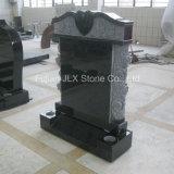Pietra tombale nera del tempiale del granito con le sculture delle rose