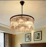 ドラムシャンデリアの水晶ポストの現代3つのライト、現代ホーム水晶照明設備、食堂、ロビーのためにつく吊り下げ式の軽いシャンデリア