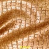 真珠の効果の浮彫りになるワニの穀物PUの靴革ファブリック