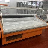 A alta qualidade curvou o contador Refrigerated vidro do serviço da carne para a venda