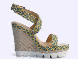 (Donna-in) sandali spessi delle donne dell'alto tallone del cuneo superiore della corda della canna
