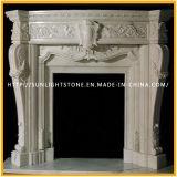 Cornija de lareira de mármore branca cinzelada da chaminé de pedra de Bianco Carrara