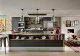 Grauer mischender Art-Küche-Schrank mit rostfreier Insel (WHD-597)