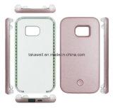 L'alimentation par batterie Selfie de qualité de prix usine allument la caisse vers le haut de clignotement de téléphone de DEL pour la couverture mobile de Samsung S5/S6/S7