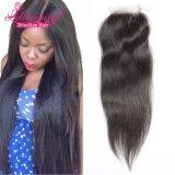 Человеческие волосы цены промотирования полностью Рук-Связанное бразильское закрытие волос шнурка
