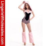 Costume Romper леопарда пинка части женщин сексуальный один с уравновешиванием шерсти Faux