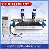 2055 3DはヘッドCNCの木製の切り分ける機械、3つの軸線CNCの家具の作成のための木製のルーター機械を分ける