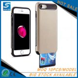 AppleのiPhone 7のための多彩なTPU+PCの札入れのカードスロットの携帯電話の箱