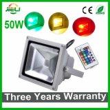IRのコントローラが付いているフラッドライト3年の保証50W RGB LEDの