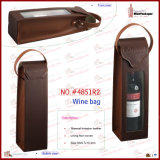 1 bottiglia Leather Wine Bag con Handle (4851R2)