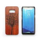 SamsungギャラクシーS8 S8のための刻まれた木製の版のパソコンの電話箱と