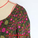 Ladies를 위한 긴 Sleeve Fashion Print Woven Dress