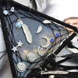 6つのペアの夢のキャッチャーの水晶アクリルの星の月の葉のスタッドのイヤリングは女性のためにセットした