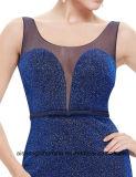 Шикарное длиннее платье выпускного вечера королевской сини сексуальное безрукавный