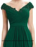 Lange Brautjunfer kleidet v-Stutzen Chiffion reizvolles Abend-Kleid