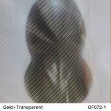 Kingtop 1m Transparant en Gouden Film wdf072-1 van de Druk van de Film van het Ontwerp van de Vezel van de Koolstof van de Breedte Hydrografische Hydro