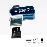 USB-C y USB-uno, lector de tarjetas micro de 2 in-1 SD (TF) para el Elegante-Teléfono, MacBook y PC en rojo