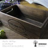 Plateau en bois en bois fabriqué à la main de caisse d'emballage d'articles divers de Hongdao avec le _E fait sur commande de vente en gros de logo