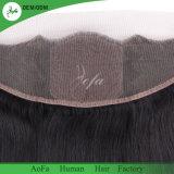 frontal de base en soie droit de cheveu brésilien de la Vierge 9A avec la fermeture de face en soie de cheveu droit de 2/3 paquet