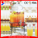 Choc en verre de jus de distributeur de boisson de choc de nourriture avec la crémaillère en verre de couvercle et en métal, robinet d'acier inoxydable