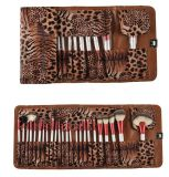 Profesional 24PCS Set Face y Eye Cosmetic Makeup Brush con Leopard Print Caso