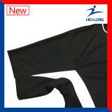 Uniformes noirs de chemises de Jersey du football d'équipe de broderie de Mens