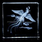 Cristal 3D Phenix grabado laser