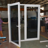 Porta dobro de alumínio revestida Kz040 do Casement da faixa do pó branco de vidro dobro da cor