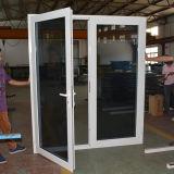 Porte en aluminium enduite de tissu pour rideaux de ceinture de double poudre blanche en verre de la couleur Kz040 double