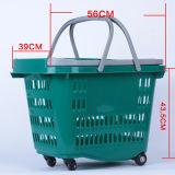 Plastiksupermarkt-Einkaufskorb mit Rädern