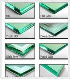 O vidro temperado com logotipo/furos/lustrou bordas de 3-19mm