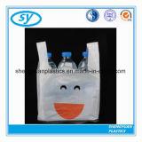 Sac à provisions en plastique de T-shirt d'impression de HDPE dégradable
