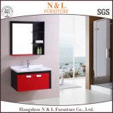 Rote und schwarze Belüftung-Badezimmer-Möbel